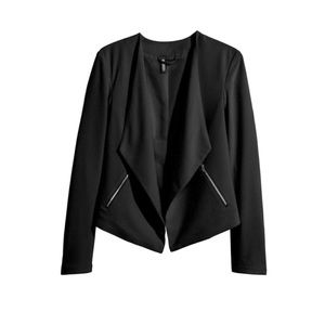 H&M | Crepe Black Blazer with Silver Zipper Detail